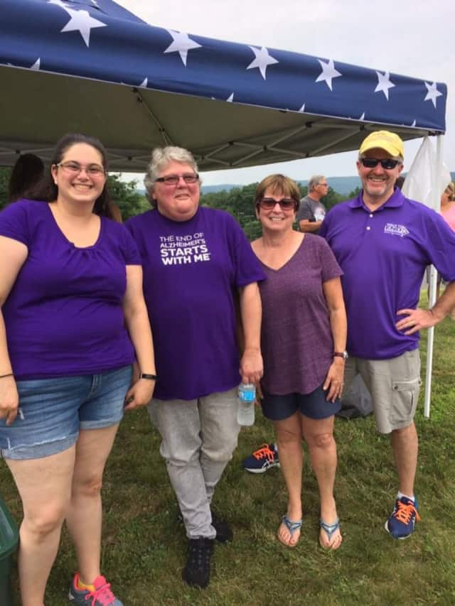 Ashley Cole (l) with other volunteers. Cole will be participating in the Walk To End Alzheimer's in Rockland.