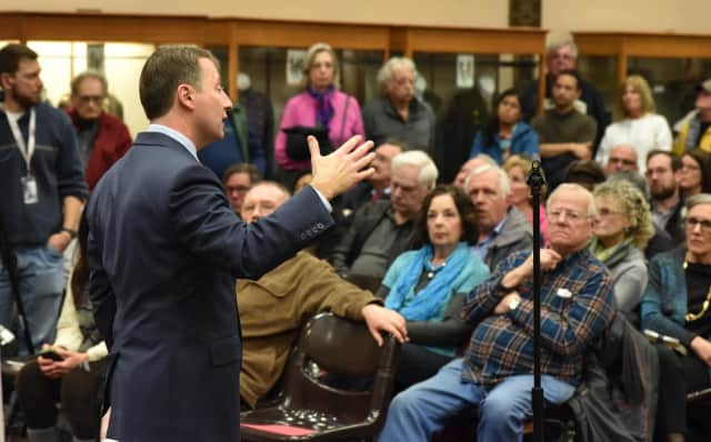 "Westchester County Executive Rob Asterino talks about several issues, including the impact of the closing of the Indian Point nuclear power facility in Buchanan, at a recent ""town hall"" event in Cortlandt.  Hundreds of people attended the forum."