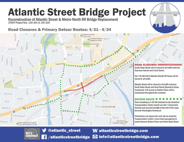 There will be a detour this weekend on I-95 in Stamford as part of the Atlantic Street bridge project.