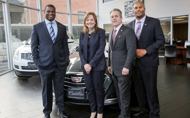 FROM LEFT: Armstead, Saporito and Pearce with GM Chairman and CEO Mary Barra