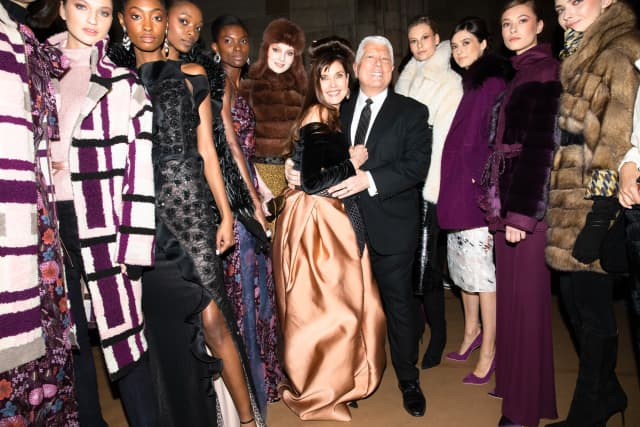 Dennis Basso with Carol Alt and other models at a show of his Fall collection.