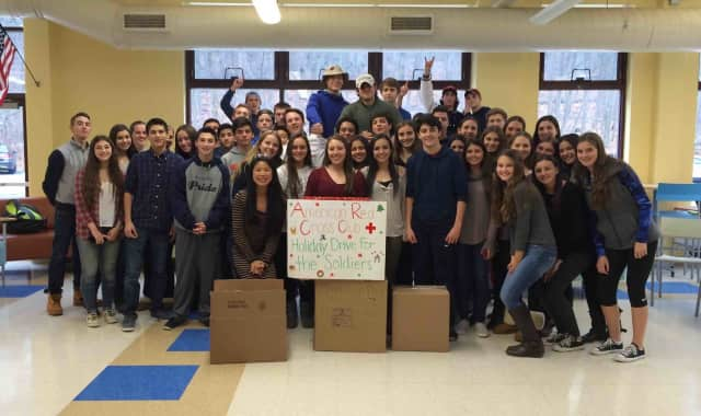 Briarcliff High's American Red Cross Club collected goods and handmade holiday cards for troops stationed in Afghanistan.