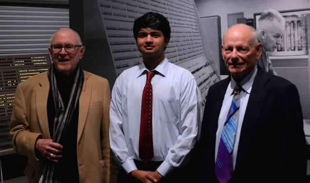 Briarcliff High School senior Karthik Rao (center) with Dr. Gordon Bell (left) and Dr. David Cutler at the ACM/CSTA Cutler-Bell Prize for Excellence in High School Computing award ceremony at the Living Computer Museum in Seattle