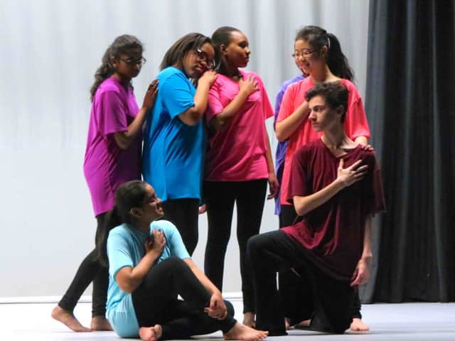 """Briarcliff High School students rehearse """"The Change"""" for the Original Student Choreography Showcase 2016, which will take place on April 9 and 10."""