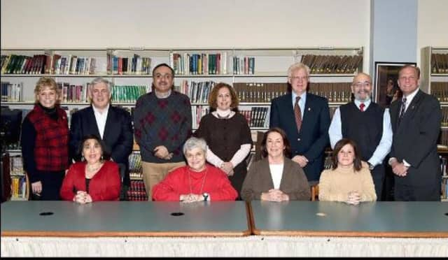 Robin Rubinstein, seated at left, resigned from the Glen Rock Board of Education in October 2015.