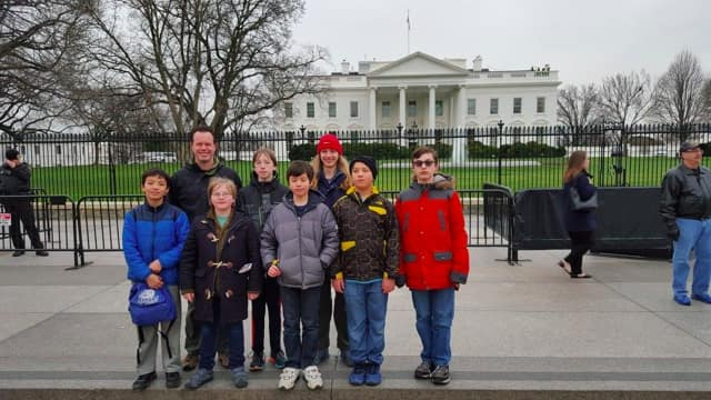 From left, Matthew Fleming, Scoutmaster Craig Patton, P.J. Shaum, Phillip DeMunck, Jason Chiu-Skow, Toby Patton, Jordan Chiu-Skow and Zane Landers, visited the White House recently.