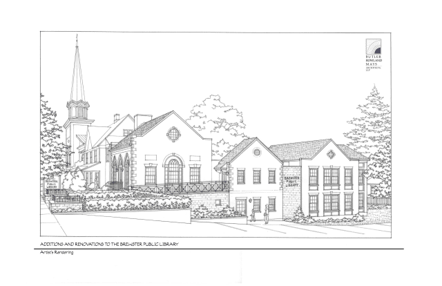 A rendering of the proposed expansion of the Brewster Public Library.