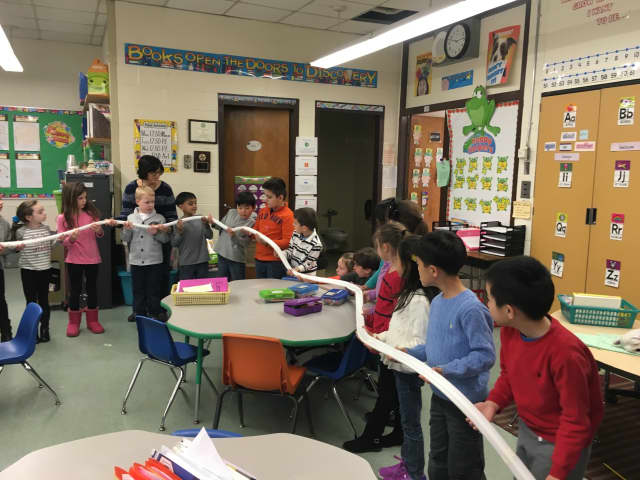 First graders at Parkway Elementary School in Paramus learn about balance and motion by constructing a
