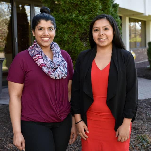 Western Connecticut State University seniors Evelin Garcia and Madiha Khan