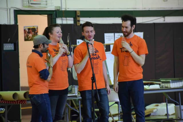 """""""Bash the Trash"""" musicians performed with instruments made from reused and repurposed materials on May 11 in front of Dows Lane Elementary School third-graders and Main Street School fourth- and fifth-graders."""