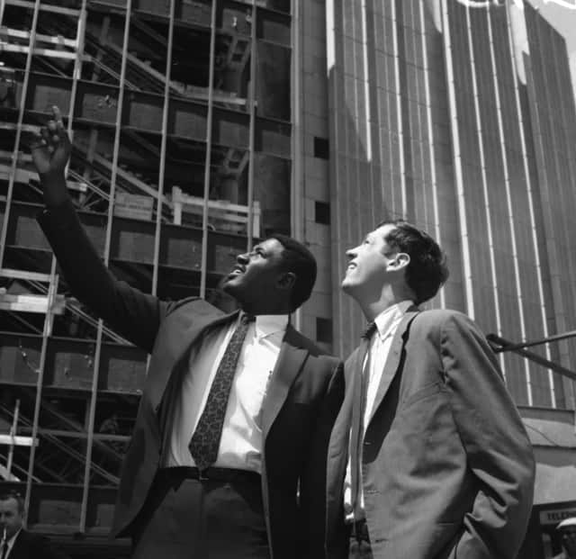 Willis Reed and Bill Bradley look at Madison Square Garden in 1967.