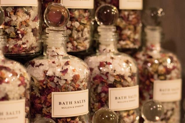 The Rose Bath Salts are made with just four ingredients: European spa salt, Epsom salt, rosebuds and rose geranium essential oil.