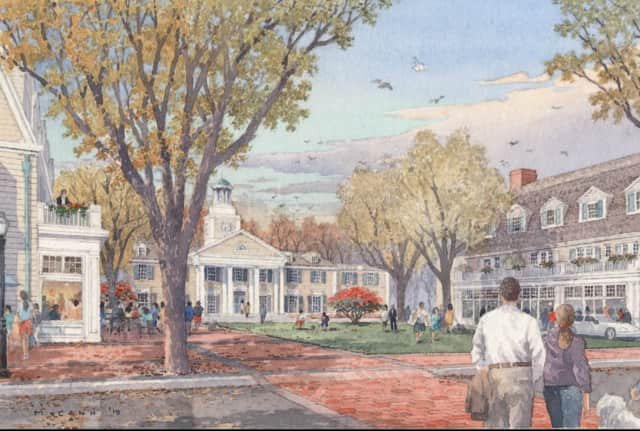 Rendering of a proposed view looking toward Market Green in Darien, Conn.