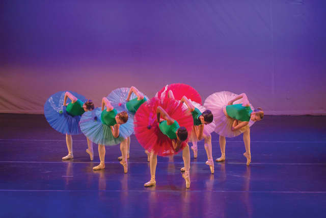 """Ballet des Amériques performing """"Of Flowers and Tears"""" (""""De fleurs et de Pleurs""""), which it will present on a mixed bill at the Emelin Theatre Oct. 24.  Photograph by Francis Augustine."""