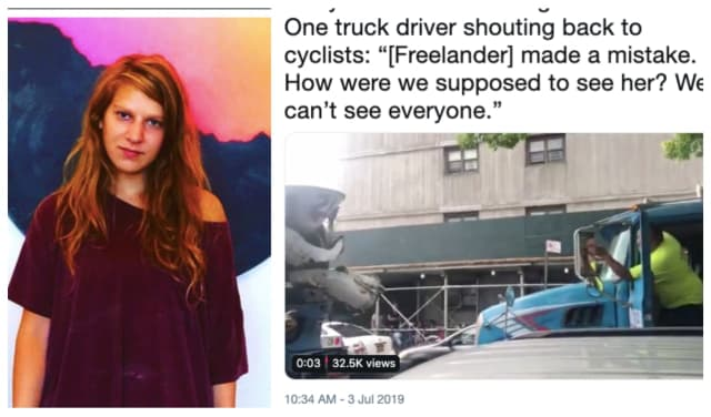 Bicyclists who turned out to mourn Ridgewood artist Devra Freelander began yelling when mix trucks with the same logo that fatally killed the 28-year-old artist drove by.