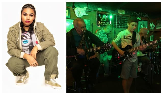 "Left:  Wé McDonald of NBC's ""The Voice."" Right: Jason Recht plays with Lou Pallo, Vic Danzi and Jimmy Owen."