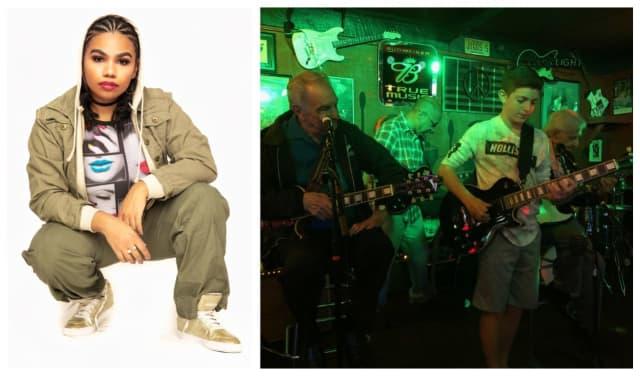 "Left:  Wé McDonald of NBC's ""The Voice."" Right: Jason Recht plays with Lou Pallo, Vic Danzi and Jimmy Owen."