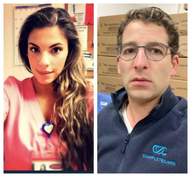 #NJThanksYou: New Bridge nurse Victoria Chmielewski and Lakewood business owner/donor Sam Stein.