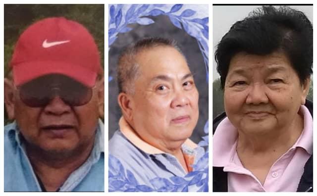 From left:  Luis Velasquez, Jr., 79, Jesus Villaluz, 75, and Violeta Velasquez, 79. Violeta lost her husband Luis and her brother Jesus days apart.