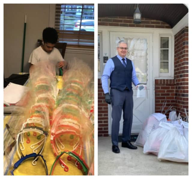 Teaneck schools' science director Rolando Monserrat and high school sophomore Elias Sanchez have been using 3-D printers to create face shields. They donated 340 to Holy Name Medical Center.