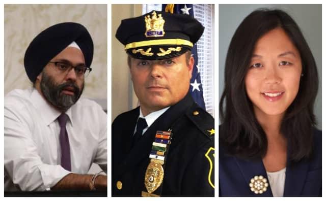 NJ Attorney General Gurbir Grewal, Fanwood Police Chief Richard Trigo, Former Acting Union County Prosecutor Grace Park