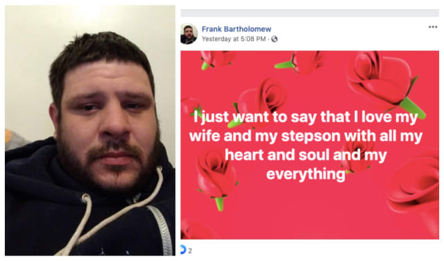 Frank Bartholomew penned heartbreaking Facebook posts to his wife and stepson in the days before his fatal fall.