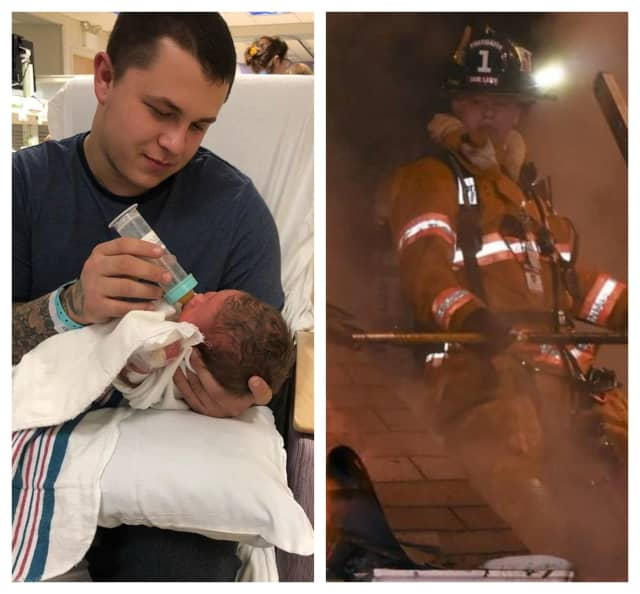Fair Lawn firefighter Kyle Wilson is a new dad to son, Colton.
