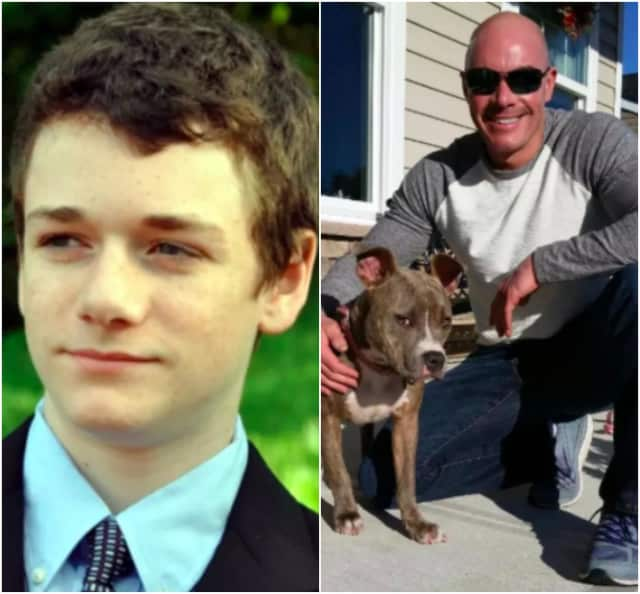 The organs of Jack Farrell, left, helped others live on. Paramus Police Officer Glenn Pagano, right, saved Cali from a severe cruelty investigation.