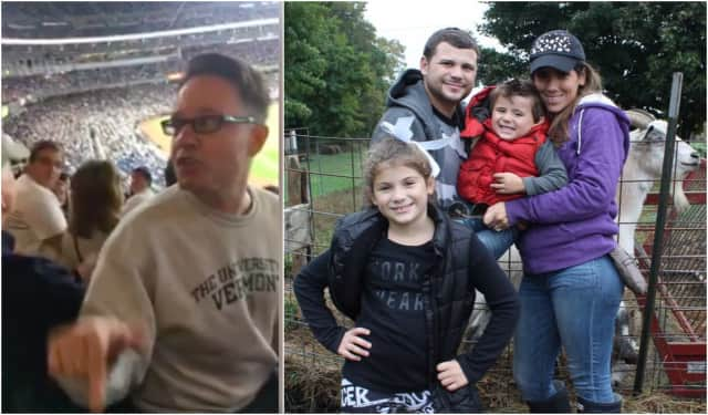Left: A Yankees fan calls a Harrison boy with special needs a derogatory name in a viral video posted by his father. Right: The DiMarco Family with Lucciano, 4.