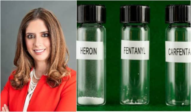 Suzanne Rabi Soliman of Northvale's US Pharmacy Lab says the photo on the right, which has recently been sweeping social media and news reports, accurately depicts lethal doses of heroin, fentanyl and carfentanyl.