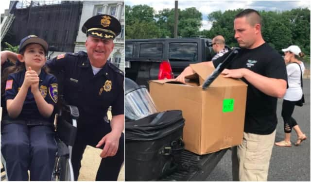 Left: Amelia with Oakland Chief Edward Kasper. Right: An officer prepares to return his equipment in Hackensack.
