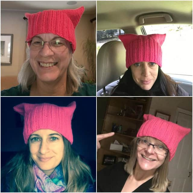 Sue Camp Tryforos, top left, launched the Pussyhat Project in Glen Rock. Locals wear her creations, which she made with help from Elaine Silverstein and Yuriko Bertram