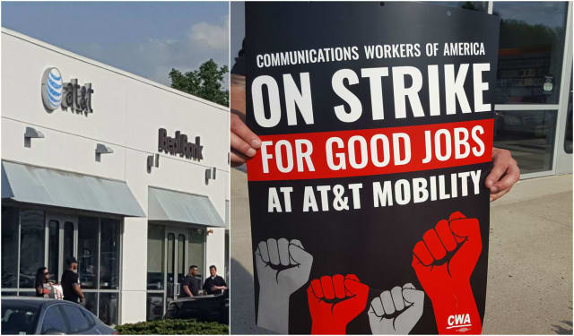 AT&T workers began a weekend-long strike in Paramus Friday.