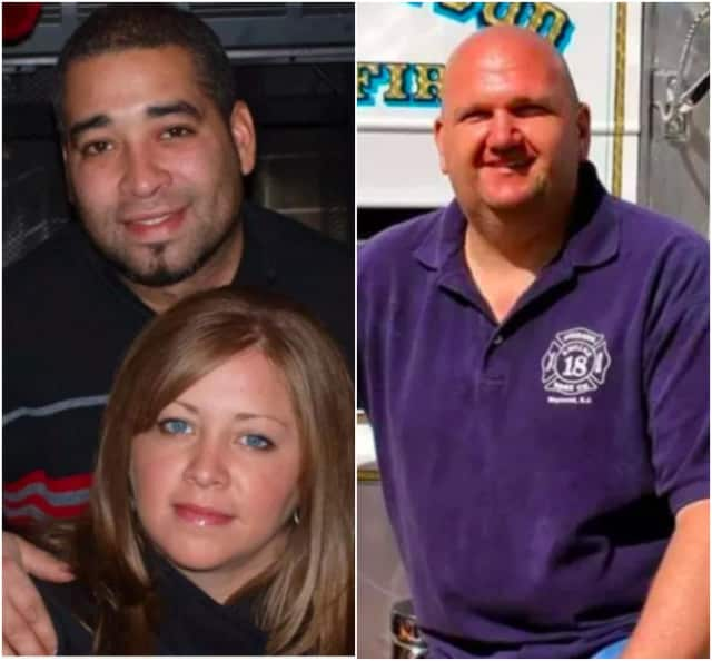 Left: Clinton J. Degroat of Ringwood killed his ex-girlfriend, Nicole Sierra, with a shotgun through a glass door. Right: Maywood Firefighter Roy De Young Jr. saved the life of a fellow resident in the Paramus ShopRite.