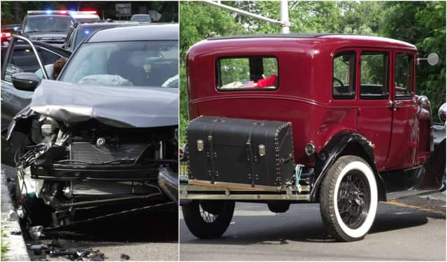 A Nissan Rogue and an old fashioned Ford crashed in Ridgewood, sending one to the hospital Thursday.