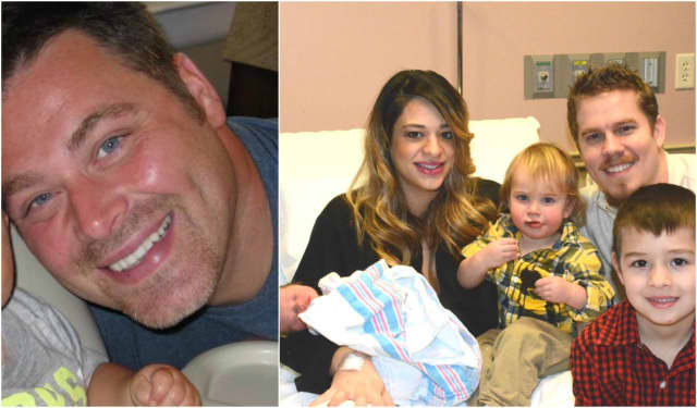 Hasbrouck Heights father Matthew Galas, left, died suddenly, days after the Swensens of Midland Park delivered NJ's first baby girl of 2017, the first baby of the year in Bergen County.