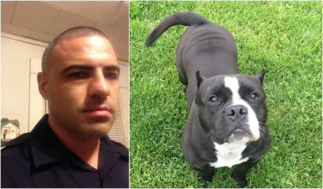 Paterson Police Officer Jose Galvan and his dog, Gabbana.