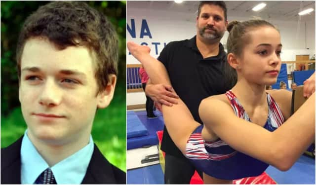 Left: Jack's organs are helping others live on. Right: Craig Zappa stretches athlete Olivia Dunne in ENA Paramus.