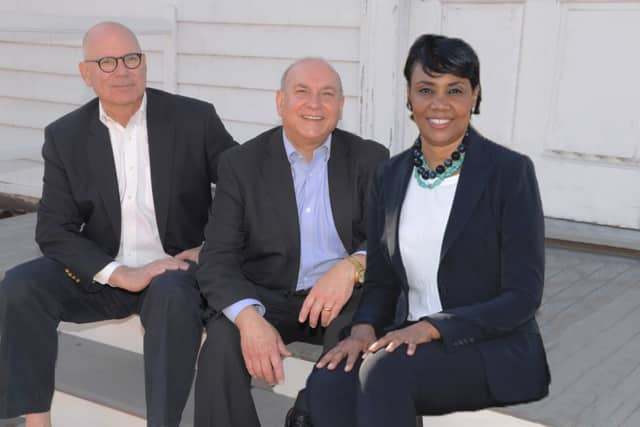 Bedford's Democratic candidates are, left to right: David Gabrielson, Chris Burdick and MaryAnn Carr. They are promising to stay under the tax cap while maintaining, or increasing, services to town residents.