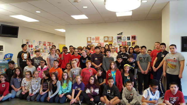 Carlstadt sixth-graders made buttons to show solidarity.