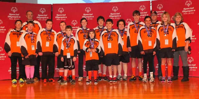 Floor hockey is just one of the sports that the Bergen County Wildcats participate it. This is this year's floor hockey orange squad.