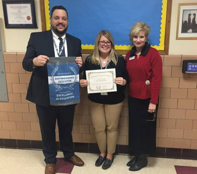 Bergenfield fourth grade teacher Nicole Bischoff has been named a Renaissance Distinguished Educator for using cloud-based educational supplements to accelerate student progress. From left, Principal William Fleming, Bischoff, and Cathy Keener.