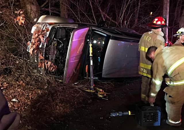 Two local fire departments responded to a rollover Sunday night.