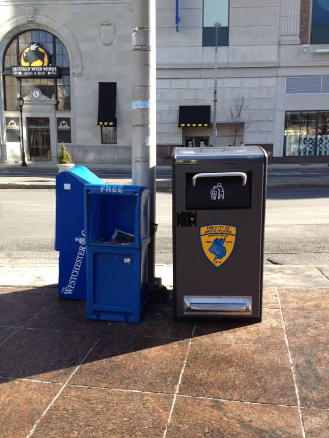 """Just in time for Earth Day, the City of White Plains has rolled out new """"Big Belly"""" solar-powered, compacting trash barrels, as part of a pilot program at three downtown locations."""