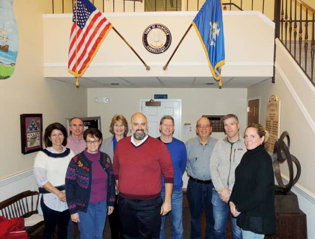 The Town of Fairfield Bicycle and Pedestrian Committee 2017 members are (left-right): Karen Secrist, William Pollack, Laura O'Brien (vice-chair), Linda Lach, Keith Gallinelli (chair), Edward Lane (secretary), Don Hyman, Nate Rex and Ann Katis.