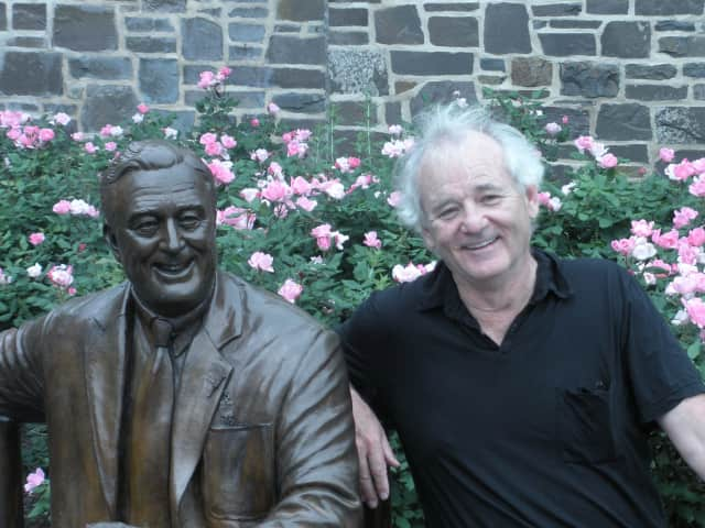 "Bill Murray sits with FDR, who he played in ""Hyde Park on Hudson"" in 2012."