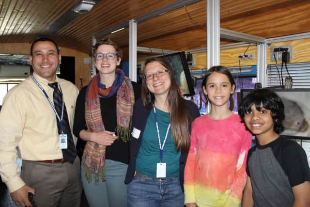 Students on the BioBus at Pocantico Hills School.