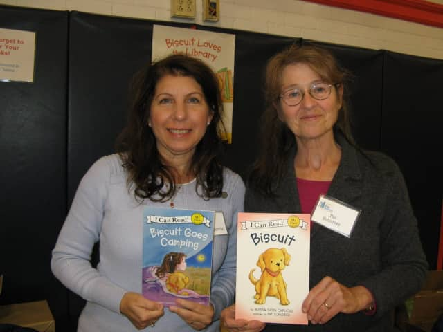 """Alyssa Capucilli, left, is author of """"Biscuit"""" and Pat Schories, an illustrator involved with the book, are two are of the guests slated for the Chappaqua Children's Book Festival."""