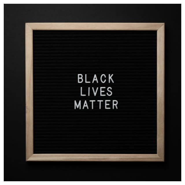 A Black Lives Matter sign was defaced in Dobbs Ferry.