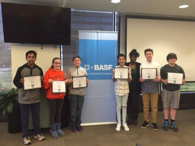 The six Blue Mountain Middle School students who participated in the You Be The Chemist Challenge on the local level.